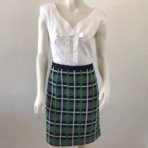 Milly green tweed bow tie sheath dress size 12